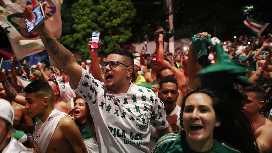 Palmeiras fans celebrate after winning the Copa Libertadores, Sao Paulo, Brazil - January 30, 2021. (Reuters)