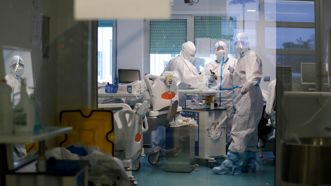Medical personnel work inside a COVID-19 Intensive Care Unit at the Military Hospital in Lisbon, Wednesday, Jan. 27, 2021. (AP)