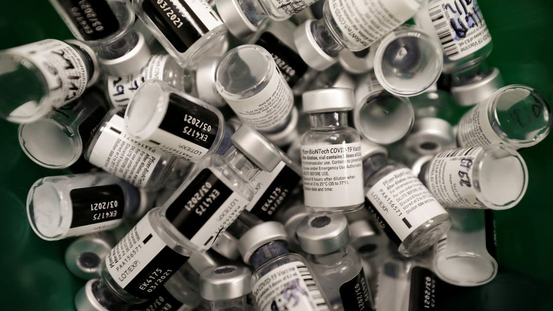 Discarded vials of vaccinations against the coronavirus disease (COVID-19) are seen as Israel continues its national vaccination drive, during a third national COVID lockdown, at a Maccabi Healthcare Services branch in Ashdod, Israel December 29, 2020. (Reuters)