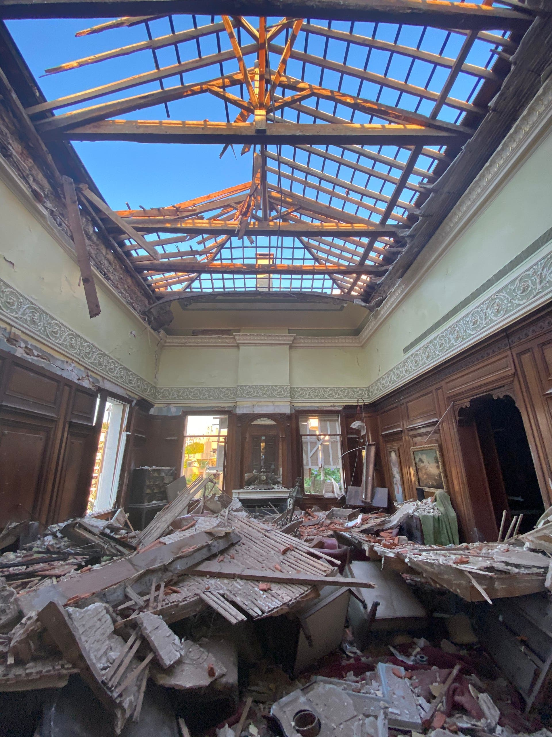 Sursock Palace's library taken after the blast, showing the collapsed roof. (Photo by Bassam Lahoud)