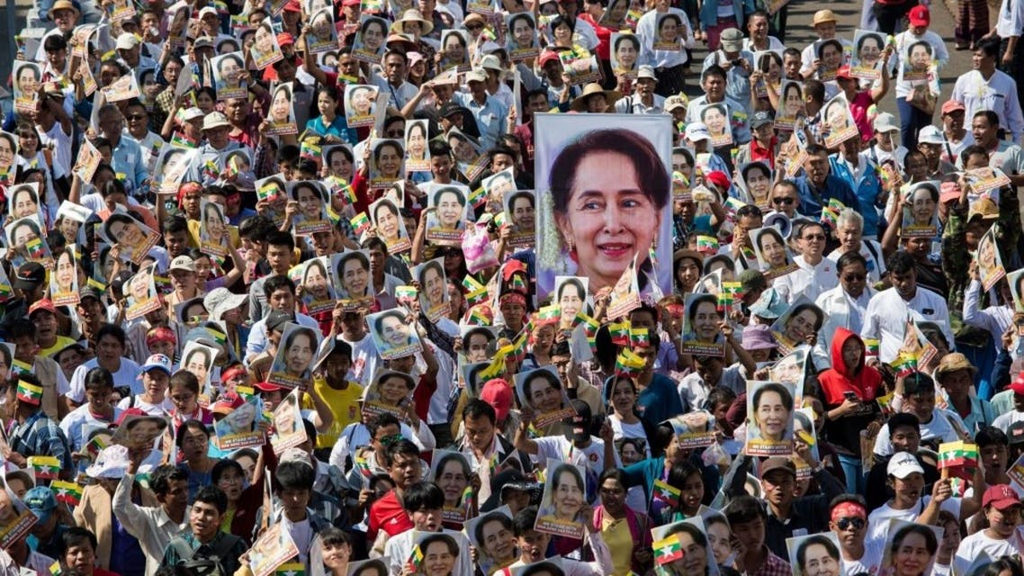 In this file photo taken on December 10, 2019 people participate in a rally in support of Myanmar's State Counsellor Aung San Suu Kyi. (AFP)