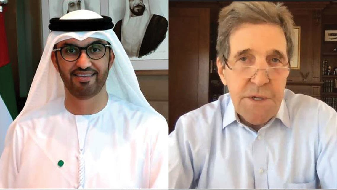 UAE Special Envoy for Climate Change Dr. Sultan Ahmed Al Jaber, left, and US Special Presidential Envoy for Climate John Kerry during a virtual call. (WAM)