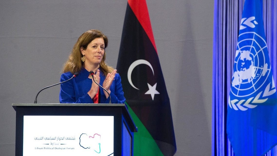 Acting UN envoy for Libya Stephanie Williams delivering remarks at the opening of the Libyan Political Dialogue Forum on February 1, 2021 at an undisclosed location near Geneva to choose a new temporary executive to lead the war-scarred country through a transition until scheduled December elections. (AFP)