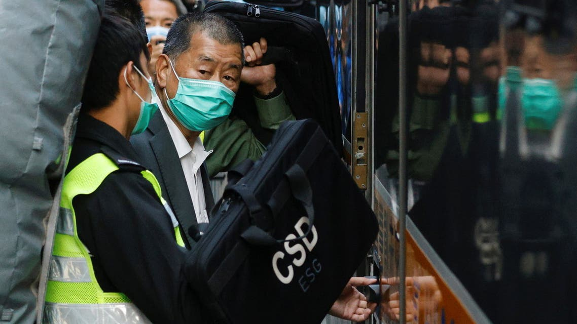 Media tycoon Jimmy Lai, founder of Apple Daily, looks on as he leaves the Court of Final Appeal by prison van, in Hong Kong, China February 1, 2021. (Reuters)