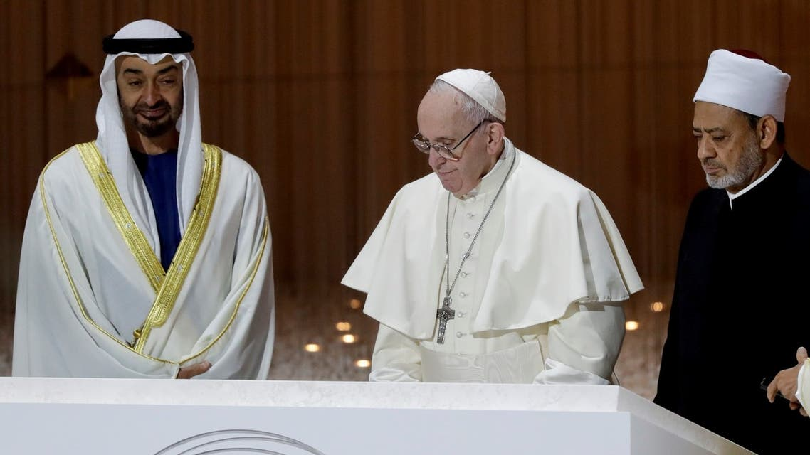 Crown Prince Sheikh Mohammed bin Zayed, Pope Francis, Sheikh Ahmed al-Tayyeb, the grand imam of Egypt's Al-Azhar in Abu Dhabi on Feb. 4, 2019. (AP)