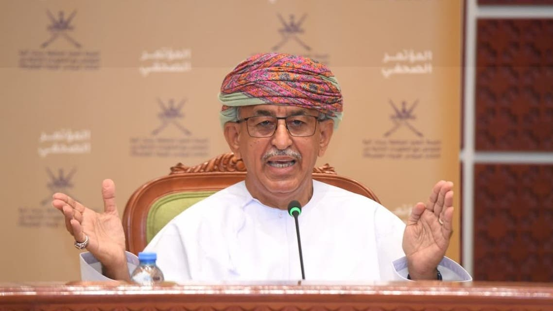 Oman's Minister of Health, Dr. Ahmed Mohammed al-Saidi at a press conference addressing the coronavirus (COVID-19) situation in the Sultanate. (Twitter)