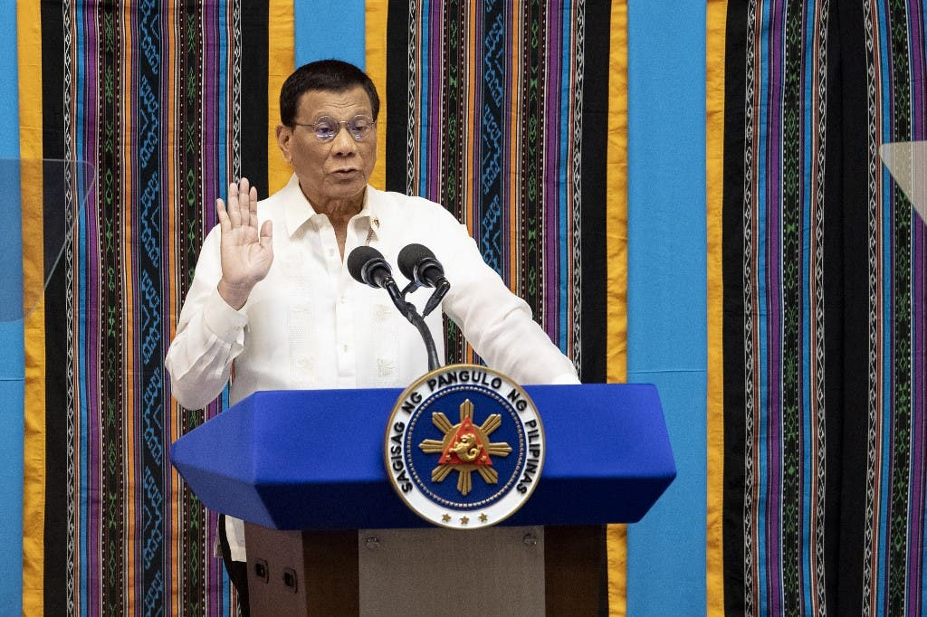 Philippine President Rodrigo Duterte gestures as he delivers his state of the nation address at Congress in Manila on July 22, 2019. (File photo: AFP)