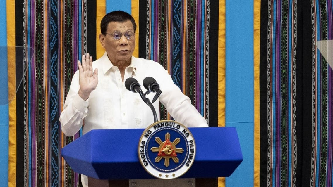 Philippine President Rodrigo Duterte gestures as he delivers his state of the nation address at Congress in Manila on July 22, 2019. (AFP)