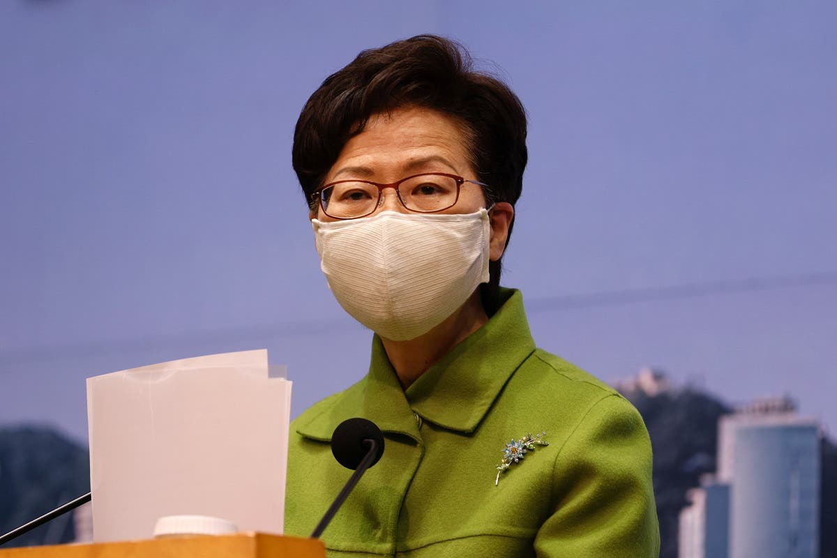 Hong Kong Chief Executive Carrie Lam attends a weekly news briefing in Hong Kong, China, on January 26, 2021. (Reuters)