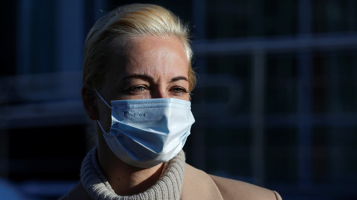 Yulia Navalnaya, wife of Russian opposition leader Alexei Navalny, wears a protective face mask as she leaves after a court hearing in Moscow, Russia February 1, 2021. (Reuters)