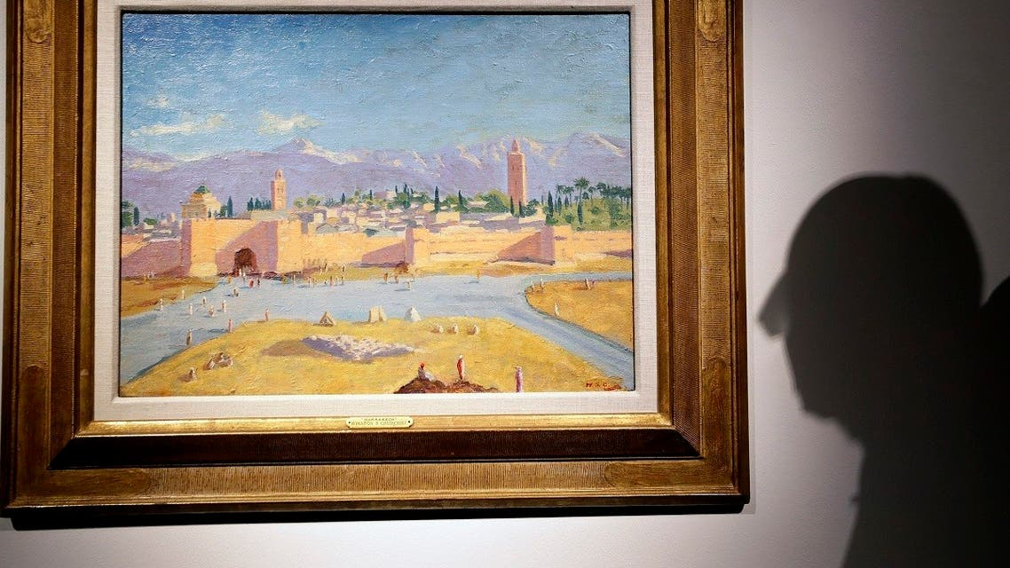 An oil on canvas painting by Winston Churchill Painted in Jan. 1943 called 'Tower of the Koutoubia Mosque' is displayed at Christie's auction rooms in London, Jan. 29, 2021. (AP/Kirsty Wigglesworth)