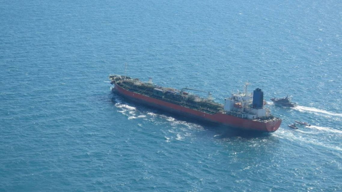 A South Korean-flagged tanker vessel which was seized by Iran. is seen in Gulf, Iran January 4, 2021. IRGC / WANA (West Asia News Agency) via REUTERS ATTENTION EDITORS - THIS IMAGE HAS BEEN SUPPLIED BY A THIRD PARTY