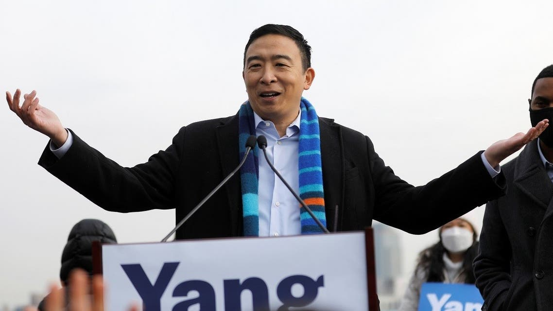 Former Democratic presidential candidate Andrew Yang speaks at an event announcing his candidacy for New York City Mayor in New York City, January 14, 2021. (Reuters)