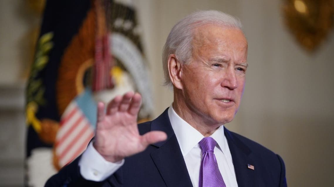 US President Joe Biden speaks in the State Dining Room of the White House in Washington, DC on January 26, 2021. (AFP)