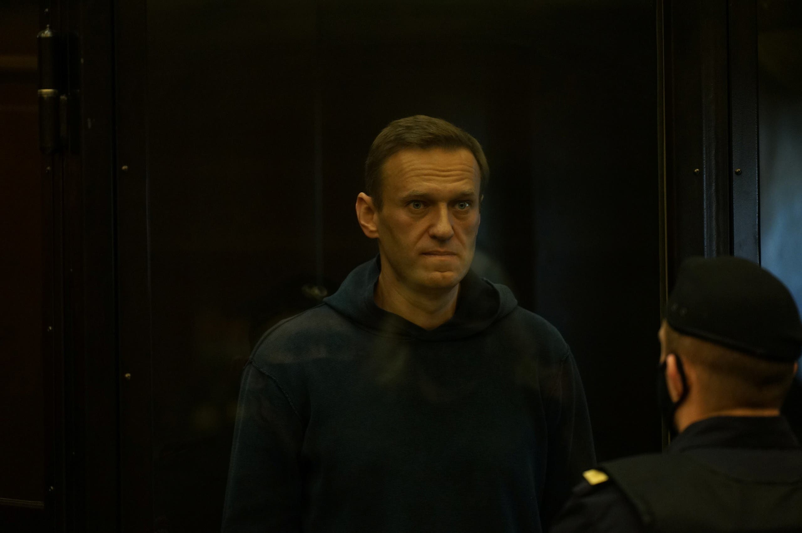 Russian opposition leader Alexei Navalny accused of flouting the terms of a suspended sentence for embezzlement attends a court hearing in Moscow, Russia February 2, 2021. (Reuters)