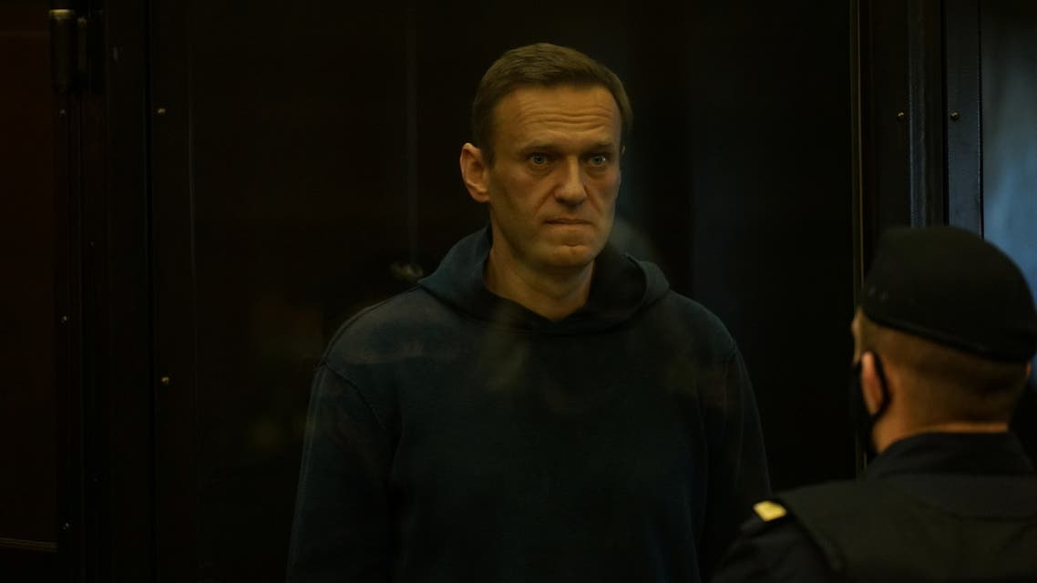 Russian opposition leader Alexei Navalny accused of flouting the terms of a suspended sentence for embezzlement attends a court hearing in Moscow, Russia February 2, 2021. Press service of Moscow City Court/Handout via REUTERS ATTENTION EDITORS - THIS IMAGE HAS BEEN SUPPLIED BY A THIRD PARTY. NO RESALES. NO ARCHIVES. MANDATORY CREDIT.