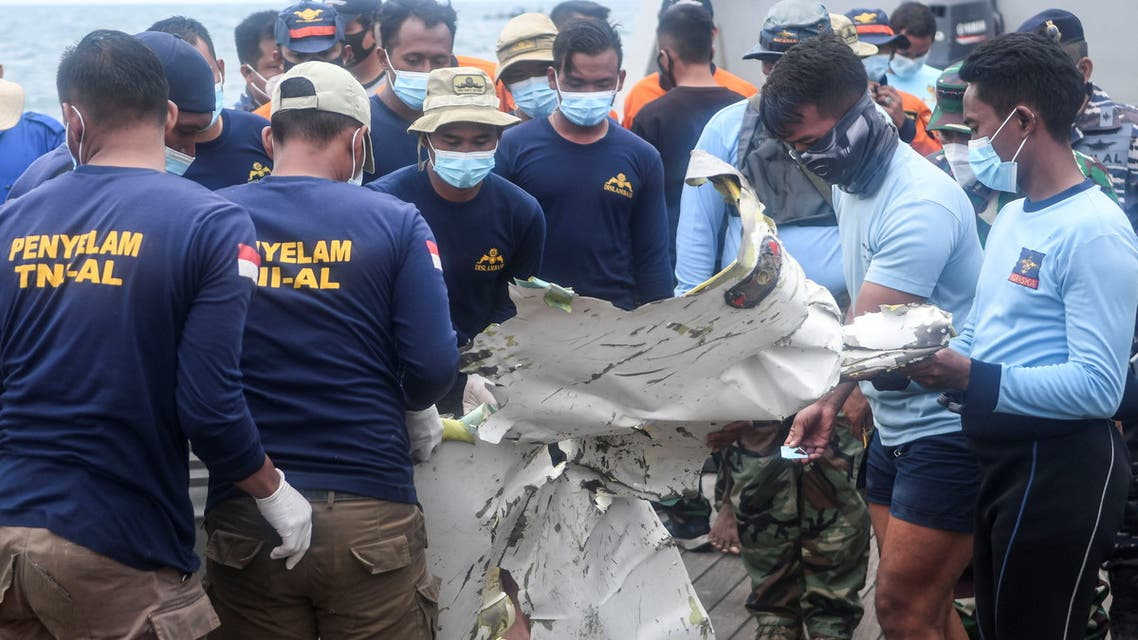 Remains of Sriwijaya Air plane flight SJ 182 which crashed into sea off Jakarta coast. (Reuters)