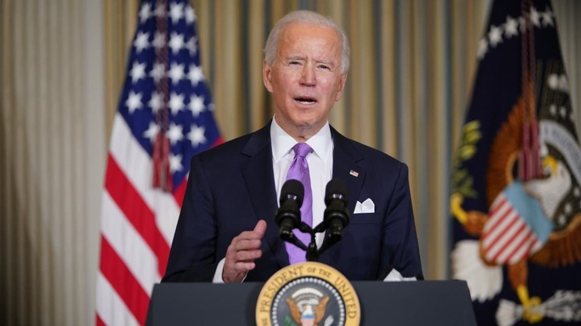 US President Joe Biden speaks on racial equity before signing executive orders in the State Dining Room of the White House in Washington, DC, on January 26, 2021. (AFP)