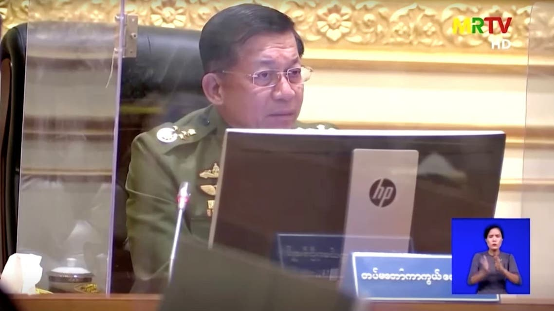 A screen grab from Myanmar state television footage, broadcast on February 2, 2021, shows General Min Aung Hlaing speaking during a meeting. MRTV/Handout via REUTERS THIS IMAGE HAS BEEN SUPPLIED BY A THIRD PARTY. MYANMAR OUT. NO COMMERCIAL OR EDITORIAL SALES IN MYANMAR. MANDATORY CREDIT. NO RESALES. NO ARCHIVES.