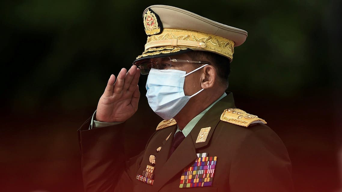 Myanmar's Army Chief Min Aung Hlaing salutes during the Martyrs' Day ceremony in Yangon on July 19, 2020.Ye Aung Thu/Pool via REUTERS/File Photo