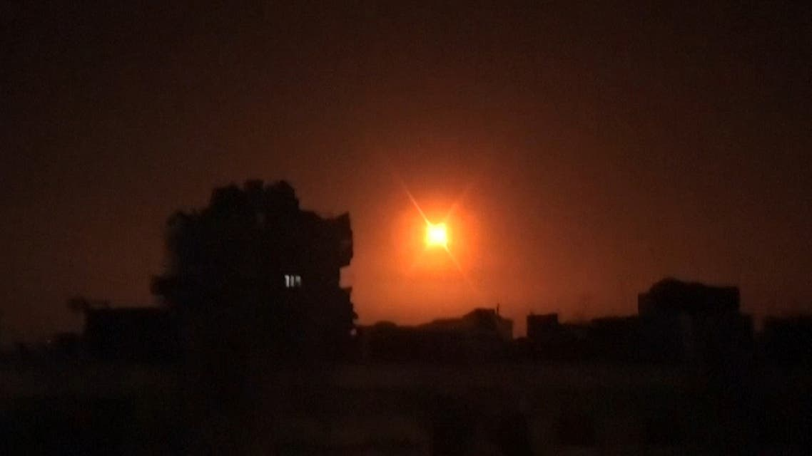 Image grab of a video released by Syrian Arab News Agency (SANA) on Feb. 6, 2020, shows an explosion following an Israeli air strike on an undisclosed location in Syria.