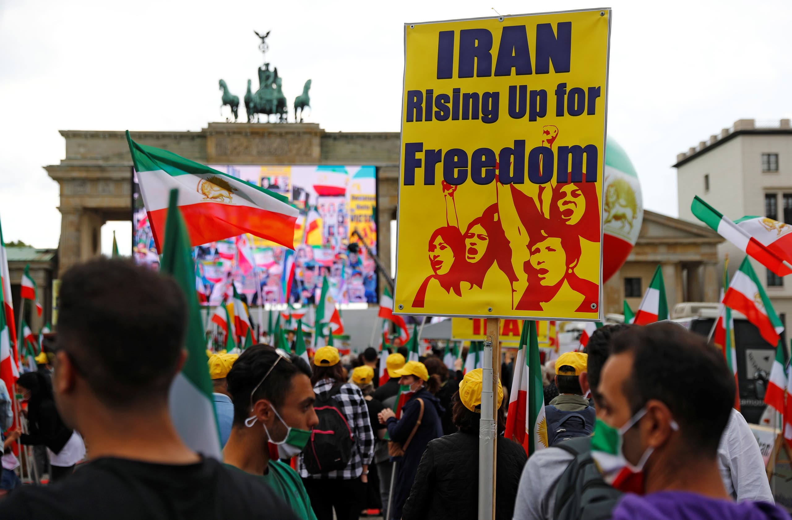 Supporters of the National Council of Resistance of Iran (NCRI) gather in front of the Brandenburg Gate in Berlin, Germany. (File photo: Reuters)
