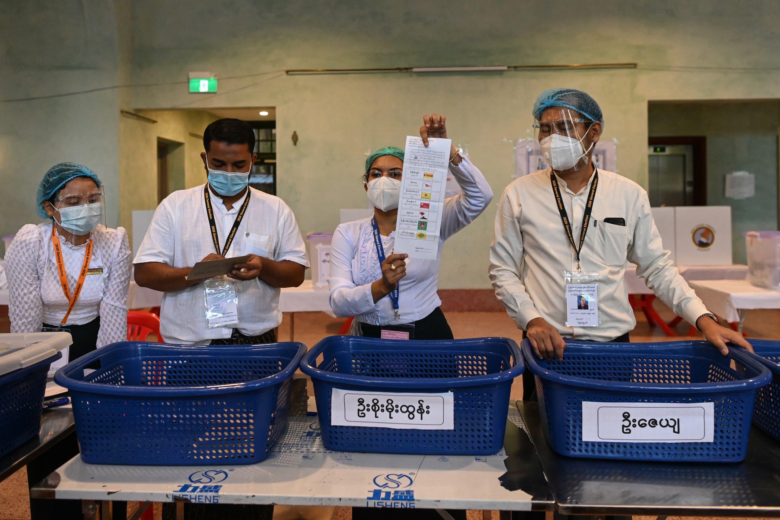 من فرز الأصوات في انتخابات نوفمبر 2020 في ميانمار