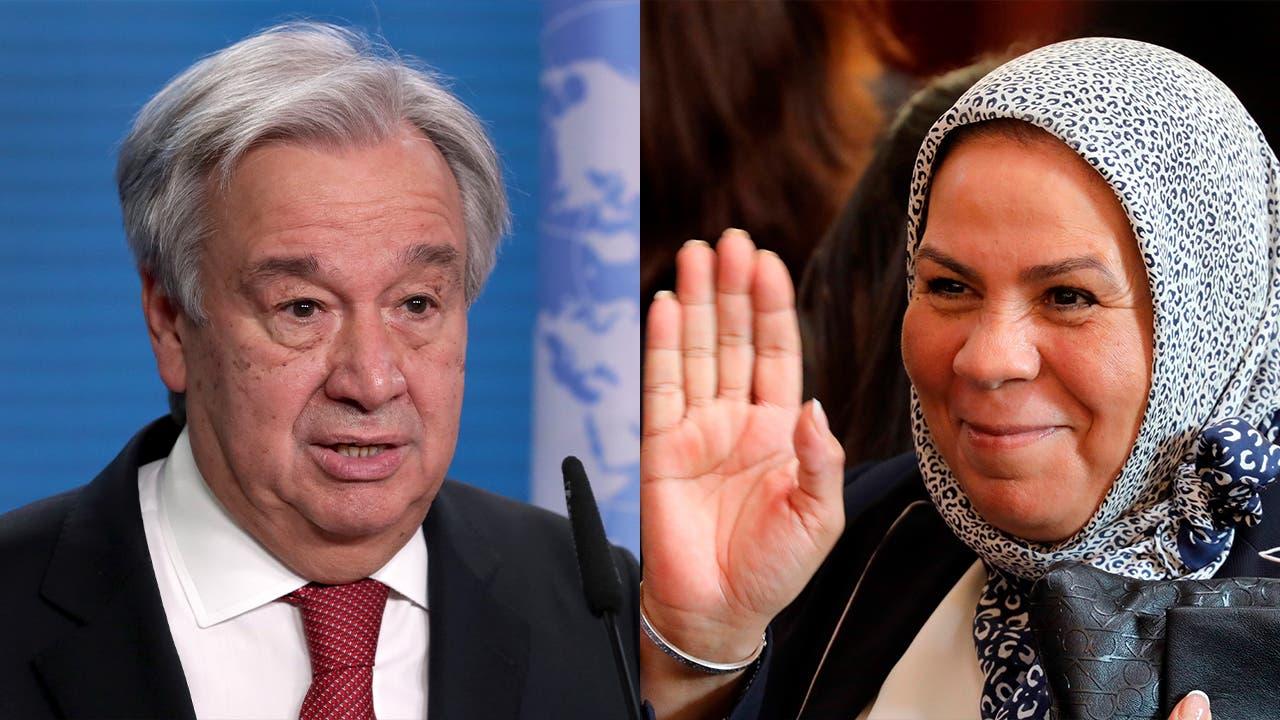 UN Secretary-General Antonio Guterres, left, and Moroccan-French activist Latifa Ibn Ziaten, right. (AP)