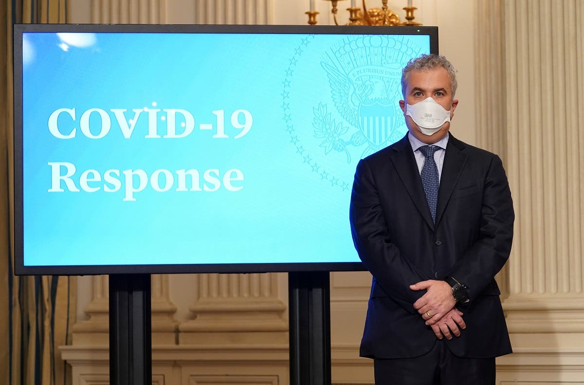White House COVID-19 czar Jeff Zients looks on as President Biden (not pictured) speaks about the fight to contain the coronavirus, at the White House in Washington, US January 26, 2021. (Reuters/Kevin Lamarque)