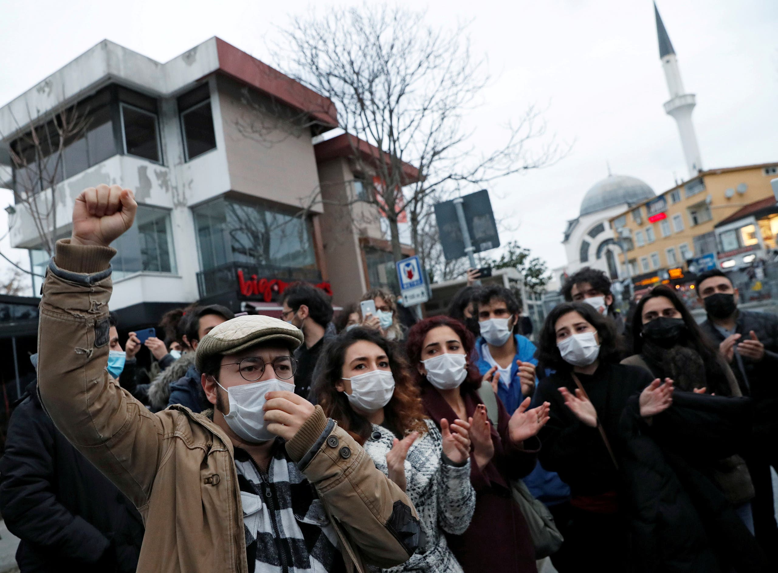 Students shout slogans as they wait in front of the Bogazici University in solidarity with fellow students inside the campus who are protesting against the new rector and the arrest of two students, in Istanbul, Turkey February 1, 2021. (Reuters)