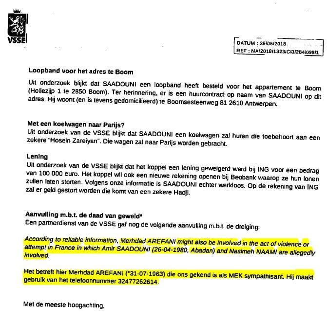 سند دادگاه بلژیک اثبات نقش آریفانی در نظارت بر عملیات ناموفق تروریستی
