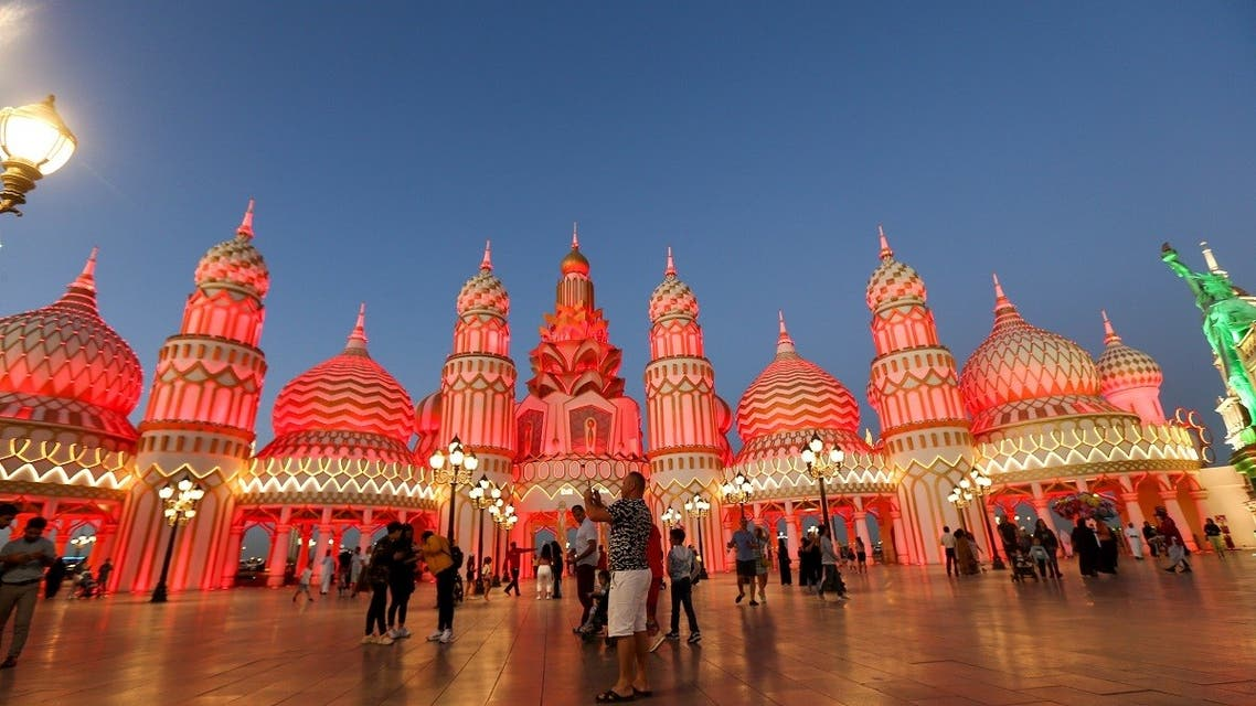 Visitors are seen at the Global Village in Dubai, United Arab Emirates, March 10, 2020. (Reuters)