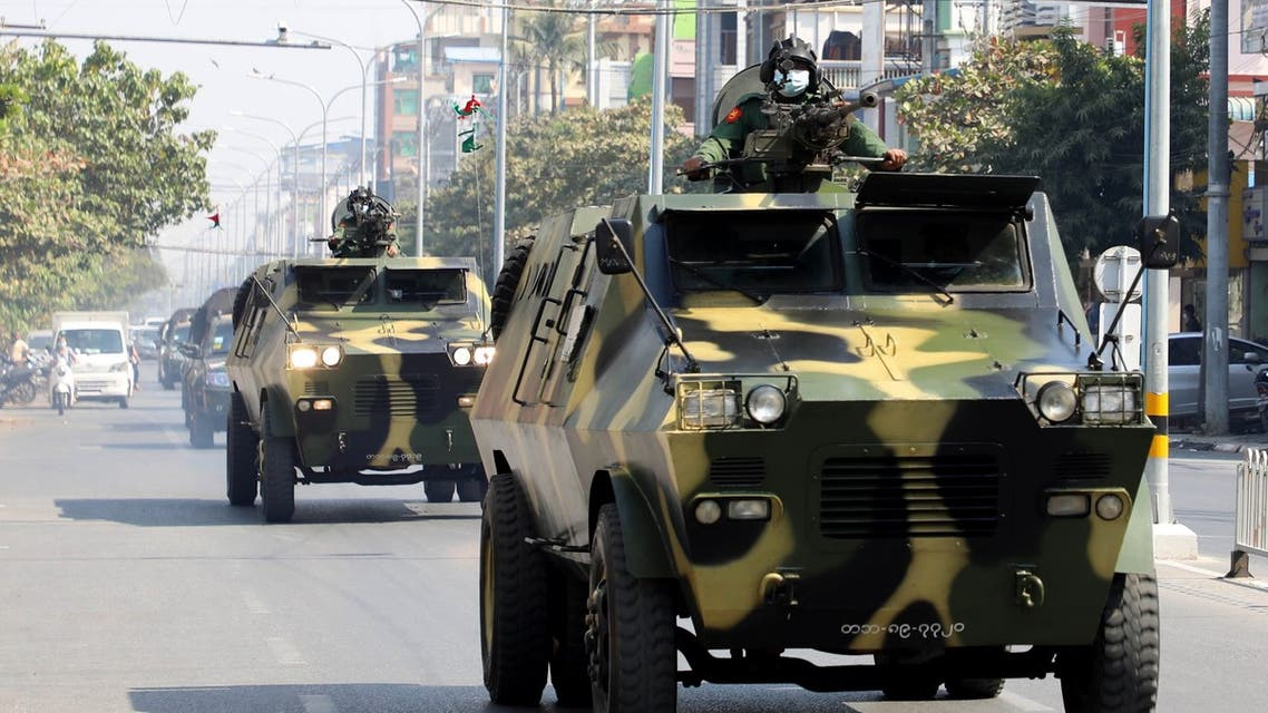 Armoured personnel carriers are seen on the streets of Mandalay on February 3, 2021, as calls for a civil disobedience gather pace following a military coup which saw civilian leader Aung San Suu Kyi being detained.