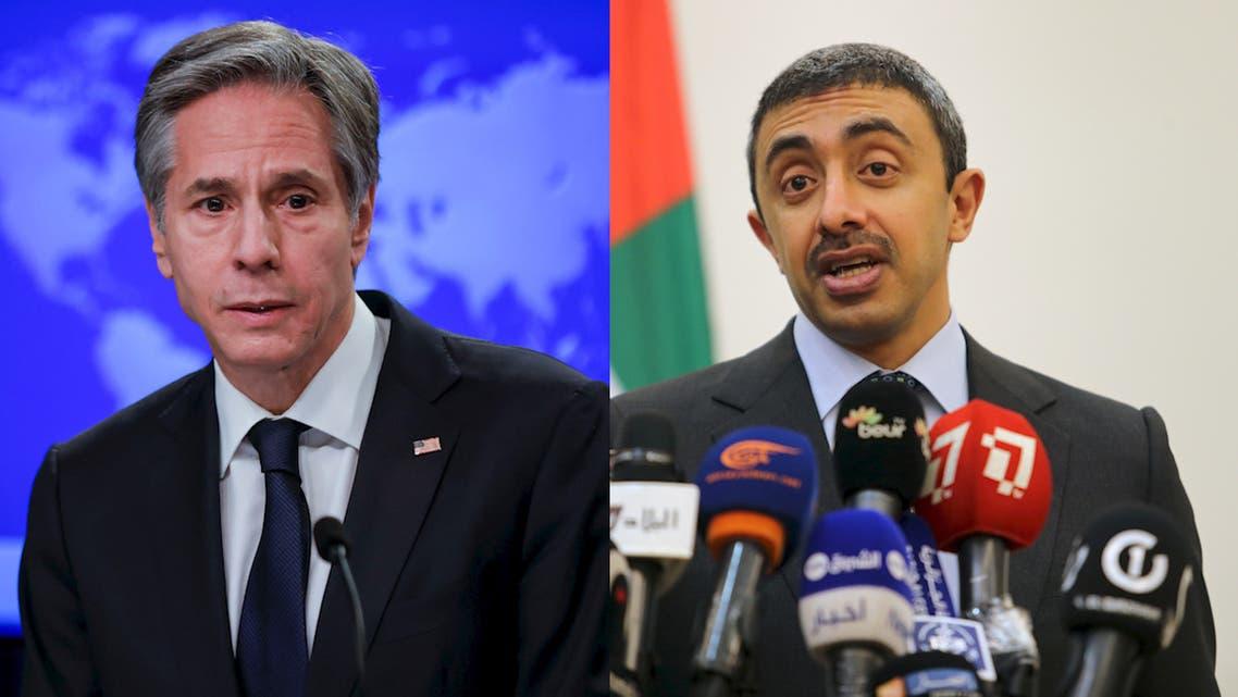 US Secretary of State Antony Blinken and UAE FM Sheikh Abdullah bin Zayed Al Nahyan. (Reuters)