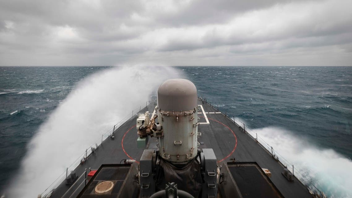In this photo provided by the U.S. Navy, the guided-missile destroyer USS John S. McCain conducts routine underway operations in support of stability and security for a free and open Indo-Pacific, at the Taiwan Strait, Wednesday, Dec. 30, 2020. (AP)
