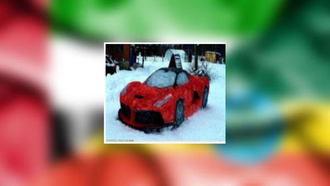 Ferrari car made by Snow