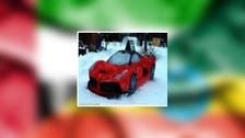 """یورپی جوڑے نے اپنے لیے برف سے """"فیراری"""" گاڑی تیار کر لی"""
