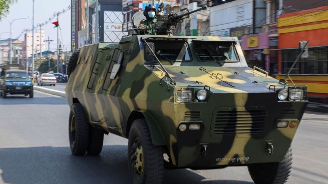 An armoured personnel carrier is seen on the streets of Mandalay on February 3, 2021. (AFP)