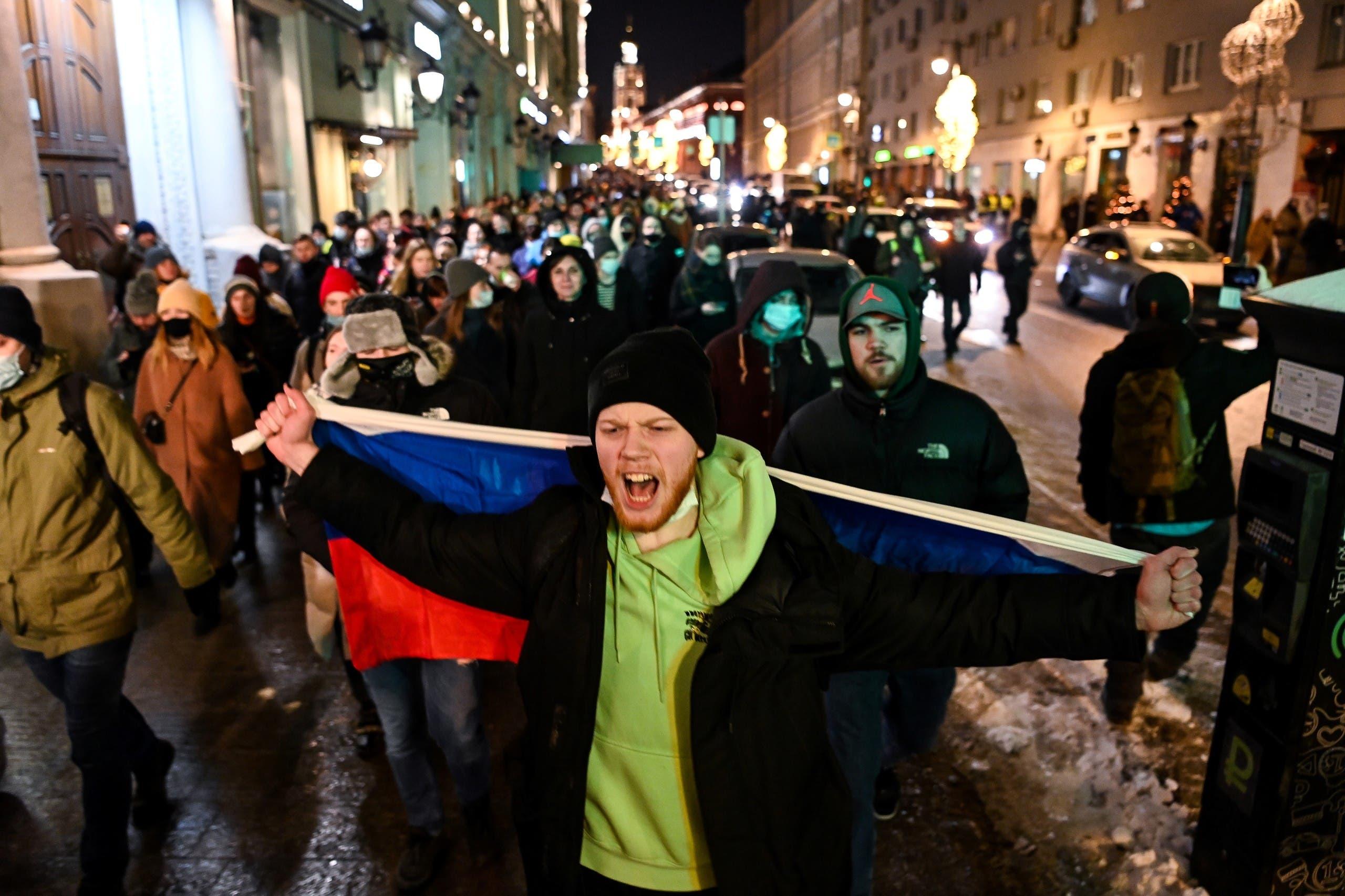 احتجاجات وسط موسكو يوم 2 فبراير
