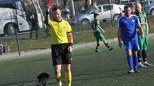 """حكم صربي يطرد """"كلباً"""" بالبطاقة الحمراء"""