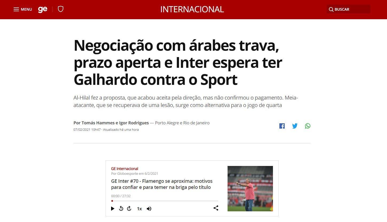 صورة ضوئية من موقع الصحيفة البرازيلية