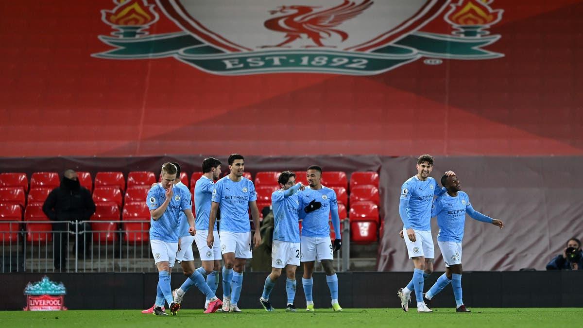 """مانشستر سيتي يذل ليفربول في """"أنفيلد"""" ويبتعد بصدارة الدوري"""