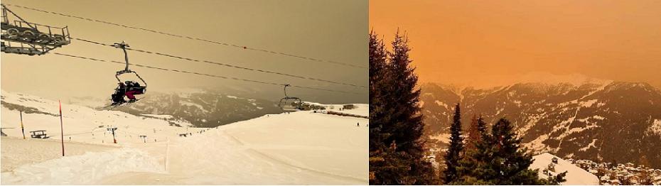 اصفرار الأجواء كان واضحا السبت في منتجع أنزير الثلجي بكانتون فاليه في الجنوب الغربي السويسري