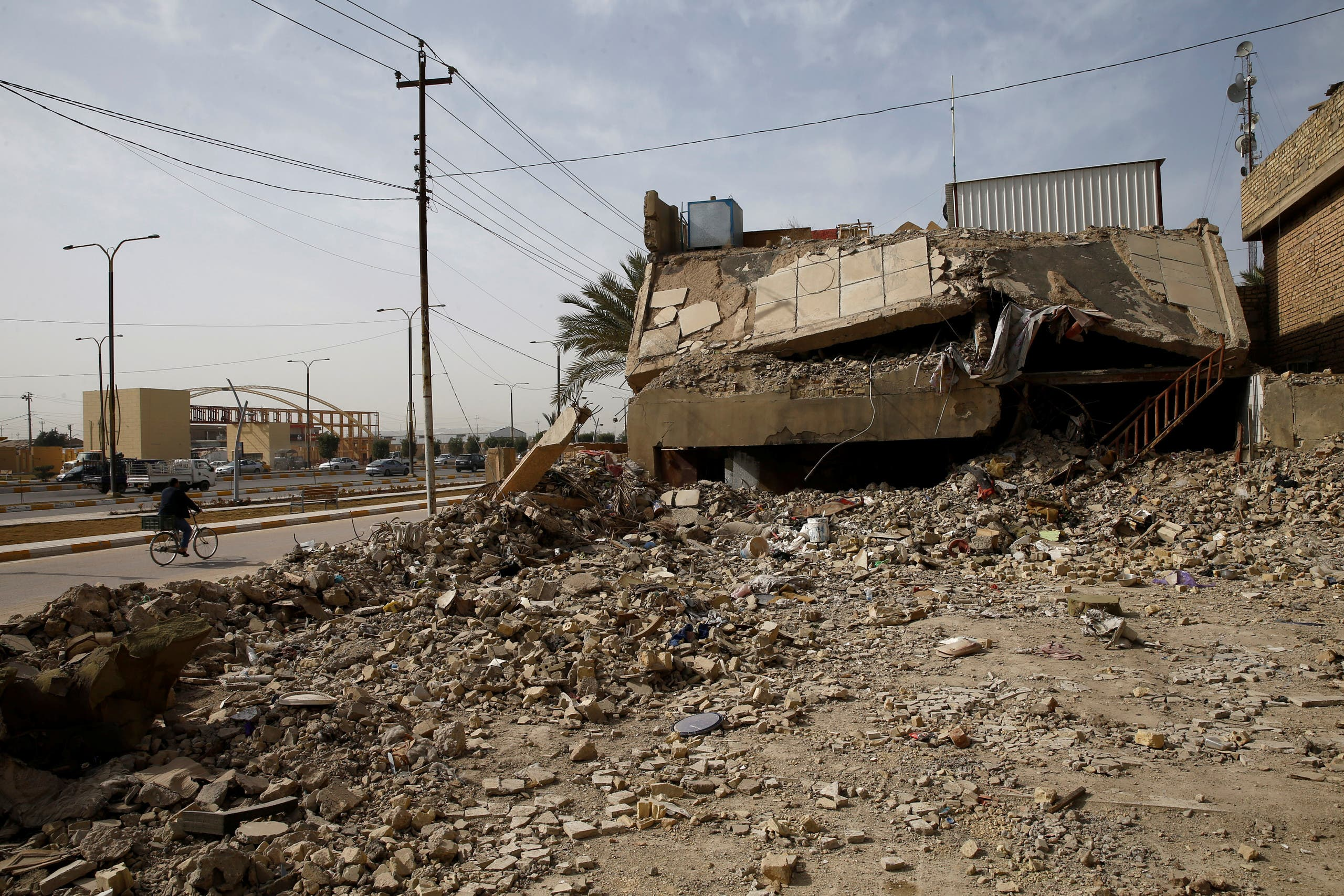 A building destroyed during past fighting with ISIS militants is seen in Fallujah, Iraq February 3, 2021. (Reuters)