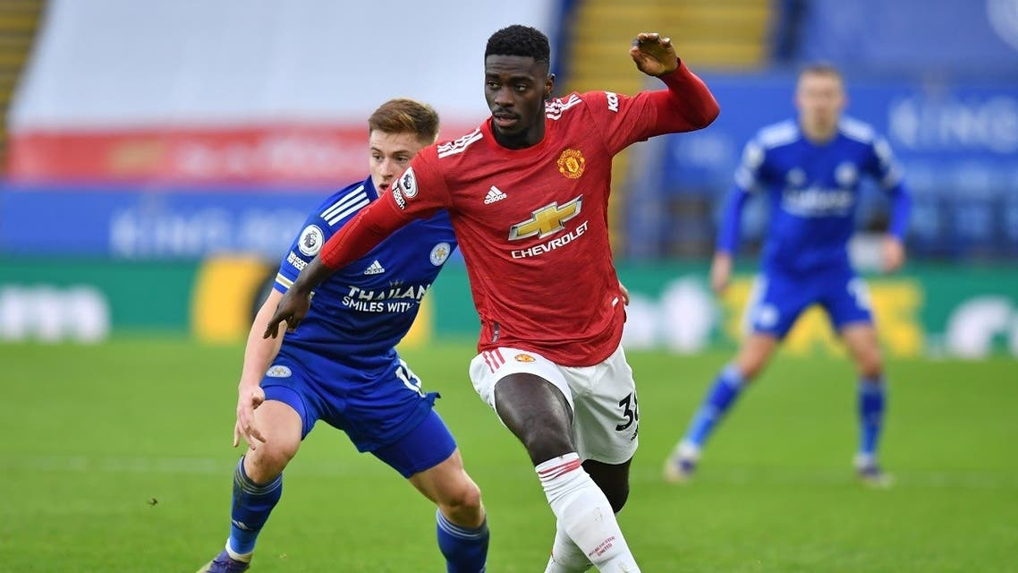 Manchester United's Congo-born English defender Axel Tuanzebe looks to play a pass during a English Premier League football match. (AFP)