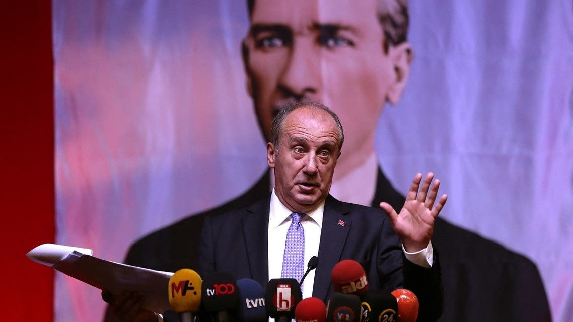 Former presidential candidate Muharrem İnce of the Republican People's Party (CHP) addresses a press conference as he stands in front of an imgae of Kemal Ataturk, known as the 'Father of Turks' in Ankara on August 13, 2020. (Adem Altan/AFP)