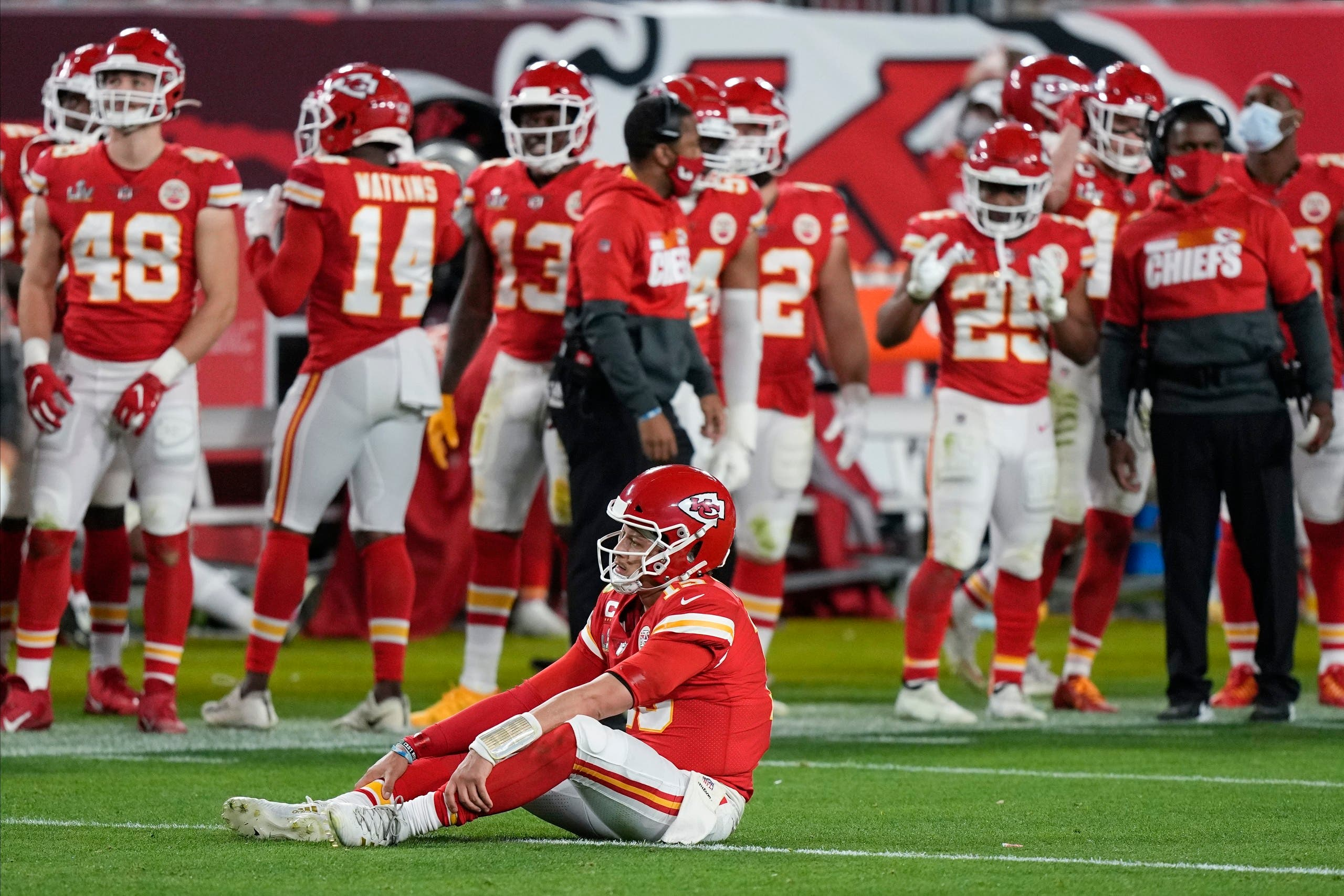Kansas City Chiefs quarterback Patrick Mahomes (15) sits on the turf during the second half of the NFL Super Bowl 55 football game against the Tampa Bay Buccaneers, Sunday, Feb. 7, 2021, in Tampa, Fla. (AP)