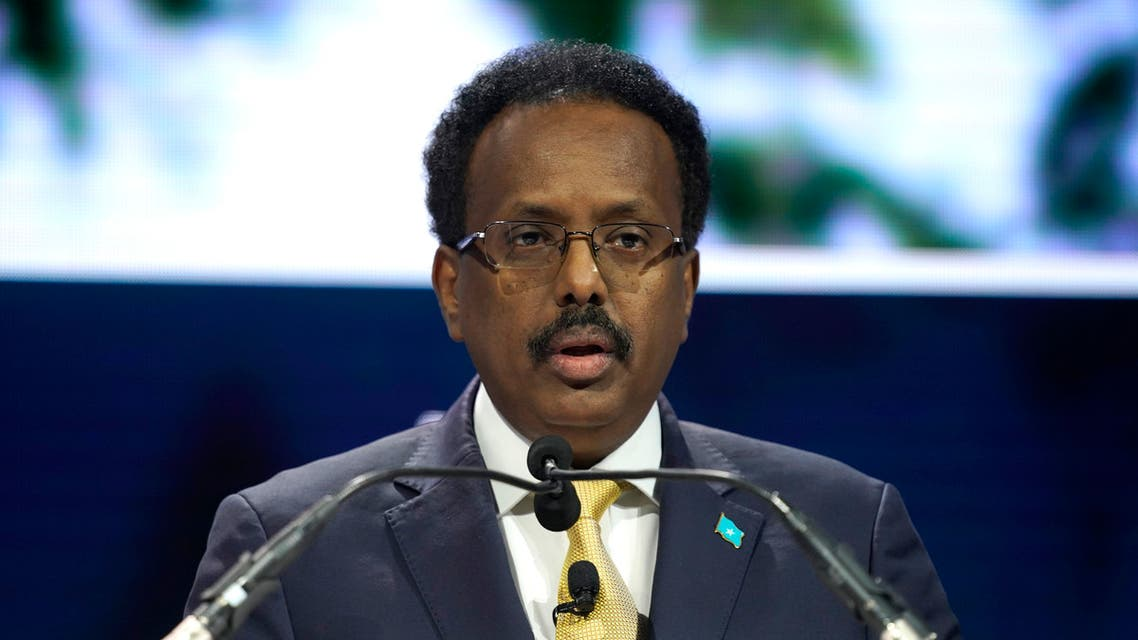 President of Somalia Mohamed Abdullahi Mohamed speaks onstage during the 2019 Concordia Annual Summit. (AFP)