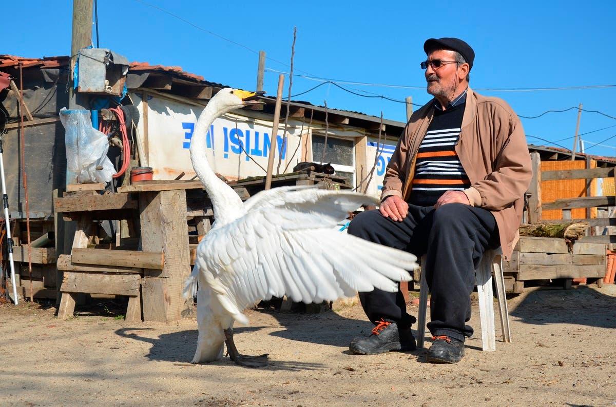 Recep Mirzan, a 63-year-old retired postman and Garip share a moment in his farmhouse outside Karaagac, in Turkey's western Edirne province, bordering Greece, Saturday, Feb. 6, 2021. (AP/Ergin Yildiz)