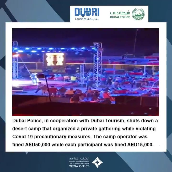 Dubai Police shuts down desert camp party for flouting COVID-19 rules